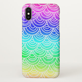 Mermaid summer scallop fish scale watercolor neon iPhone x case