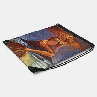 Mermaid Sunset Drawstring Bag