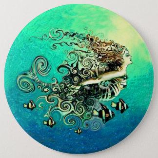 Mermaid Swimming with the Fish 6 Cm Round Badge
