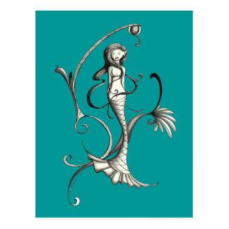 mermaid swirl 2 postcard
