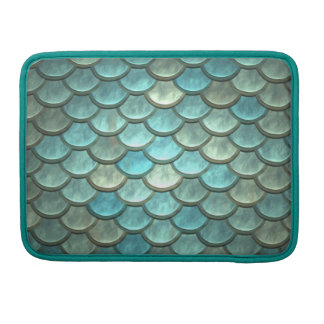 Mermaid Tail Scales Soft Blue Green Turquoise Sleeve For MacBook Pro