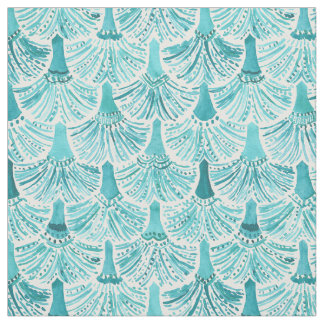 MERMAID TAILS Aqua Fish Scale Pattern Fabric