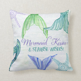 Mermaid Tails Kisses Starfish Wishes Saying Wood Cushion