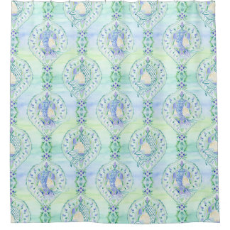 Mermaid Tails Shell Damask Watercolor Ocean Wave Shower Curtain