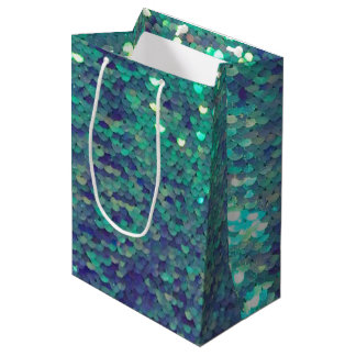 mermaid teal aqua blue sequin pattern medium gift bag