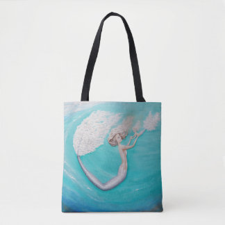 Mermaid turquoise mother and daughter art tote bag