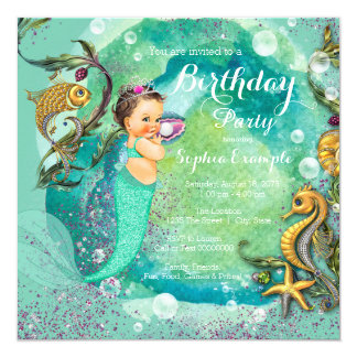 Mermaid Under the Sea Birthday Party 13 Cm X 13 Cm Square Invitation Card