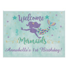 Mermaid Under The Sea Birthday Party Poster