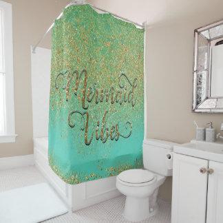 Mermaid Vibes Cascading Gold Glitter Teal Aqua Shower Curtain