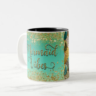 Mermaid Vibes Gold Cascading Glitter & Scales Two-Tone Coffee Mug
