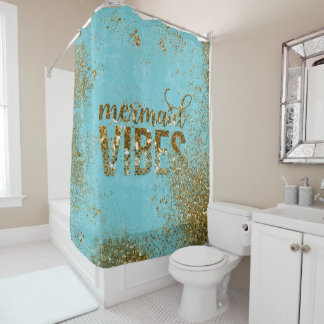 Mermaid Vibes- Gold Glitter Typography on Teal Shower Curtain