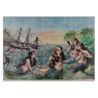 Mermaid Vintage Antique Magic Nautical Cutting Board