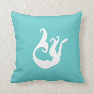 mermaid White on teal blue pillow