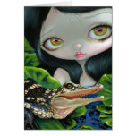 """Mermaid with a Baby Alligator"" Greeting Card"