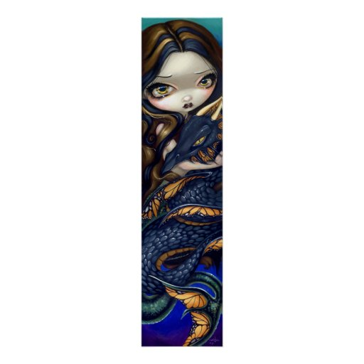 Mermaid with a Black Sea Serpent Art Print dragon