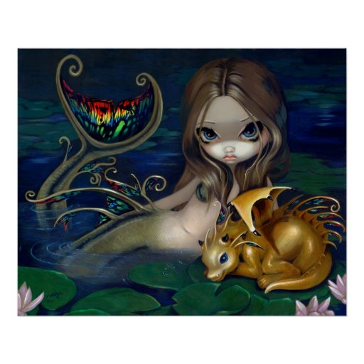 Mermaid with a Golden Dragon Art Print fantasy fae