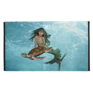 Mermaid with a Sea Turtle iPad Folio Cases