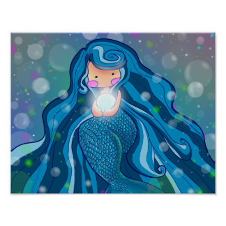 Mermaid with bright pearl poster