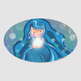 Mermaid with bright pearl sticker