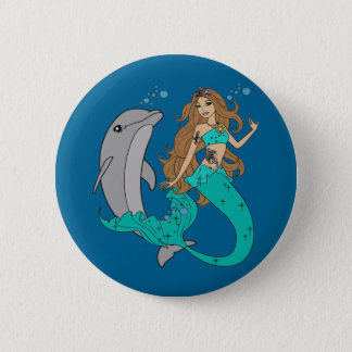 Mermaid with Dolphin 6 Cm Round Badge