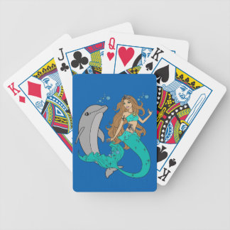 Mermaid with Dolphin Bicycle Playing Cards