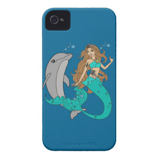 Mermaid with Dolphin iPhone 4 Case
