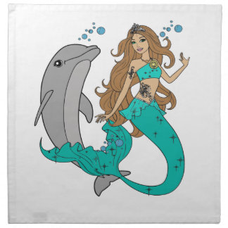 Mermaid with Dolphin Napkin
