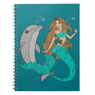 Mermaid with Dolphin Notebooks
