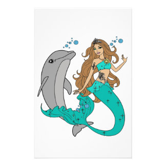Mermaid with Dolphin Stationery