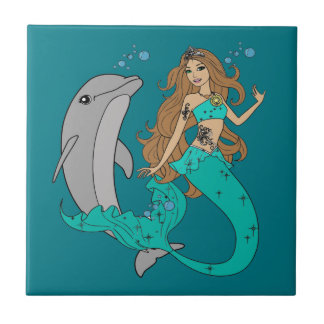 Mermaid with Dolphin Tile