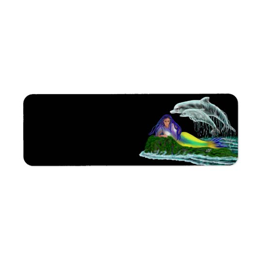 Mermaid with Dolphins Return Address Label