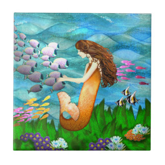 Mermaid with Fish Ceramic Tile