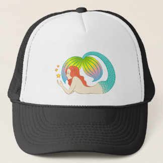 Mermaid with floating stars trucker hat