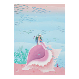 Mermaid with flower crown children's illustration poster