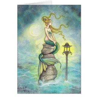 Mermaid with Lantern and Moon Fantasy Art Card