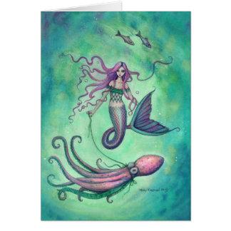 Mermaid with Octopus Fantasy Art Illustration Card