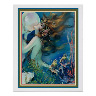 """Mermaid with Pearl"" Art Deco by Henry Clive 16x20 Poster"