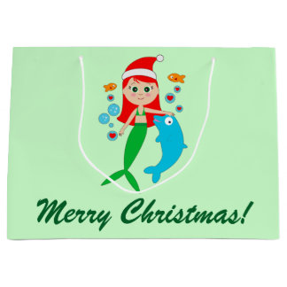 Mermaid with Santa Hat and Dolphin Friend Large Gift Bag