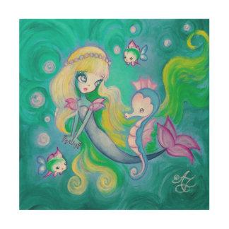 Mermaid With Sea Horse And Fish Wood Print