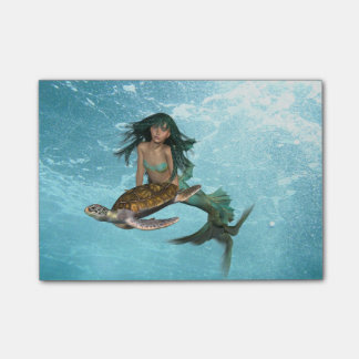 Mermaid with Sea Turtle Post-it Notes