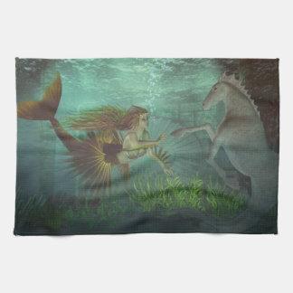 mermaid with seahorse tea towel
