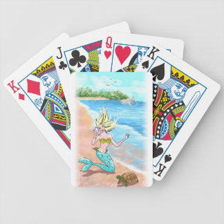 Mermaid With Seashell Turtle and Dolphins Poker Deck