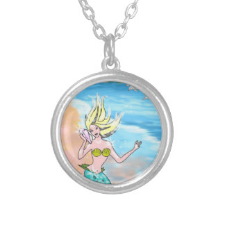 Mermaid With Seashell Turtle and Dolphins Silver Plated Necklace