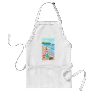 Mermaid With Seashell Turtle and Dolphins Standard Apron