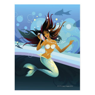 Mermaid with shell to ear postcard
