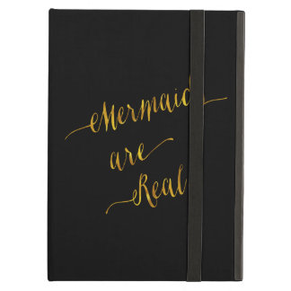 Mermaids Are Real Quote Gold Faux Foil Black Case For iPad Air