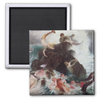 Mermaids at Play, 1886 (oil on canvas) Square Magnet