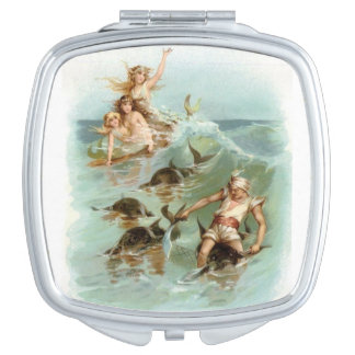 Mermaids Cheer Dolphin Rescue, Compact Mirrors