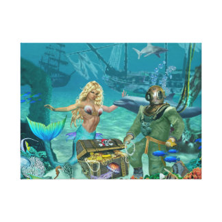 Mermaid's Coral Reef Treasure Canvas Print