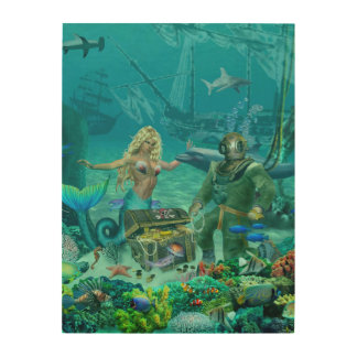 Mermaid's Coral Reef Treasure Wood Canvases